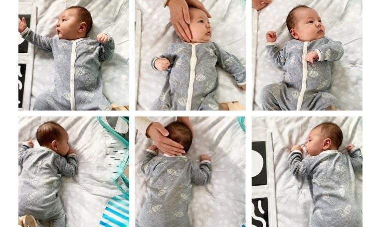 6 positions with a baby's head being rotated by a woman's hand