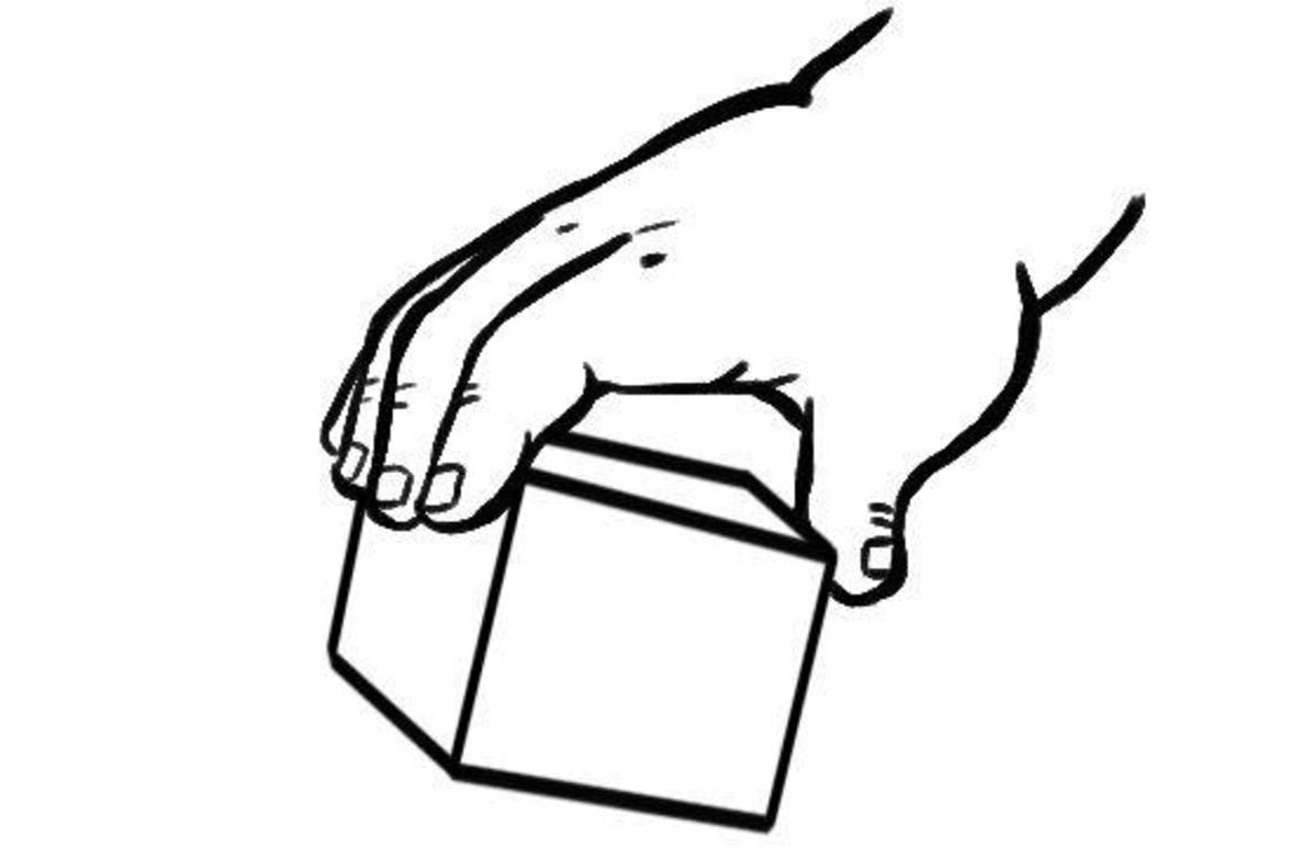 Illustration of a hand holding a block