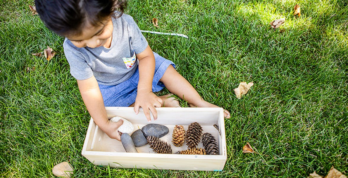 Toddler sitting in the grass playing with a container filled with rocks and pinecones