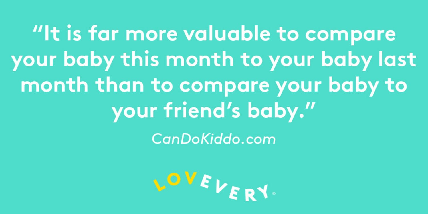 """Quote saying """"It is far more valuable to compare your baby this month to your baby last month than to compare your baby to your friends baby"""""""