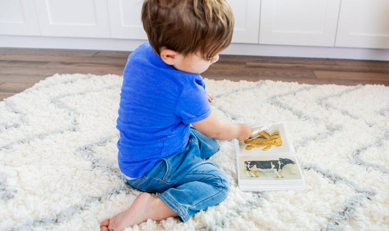 Young child sitting on a rug looking through a book of animals
