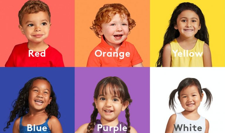 6 young children all associated with a different color