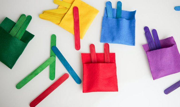 Colorful felt pockets and popsicle sticks