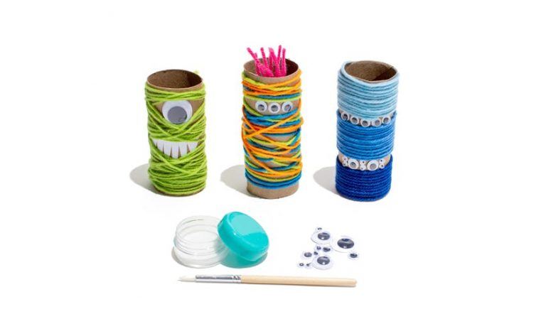 Toilet paper rolls with colorful yarn