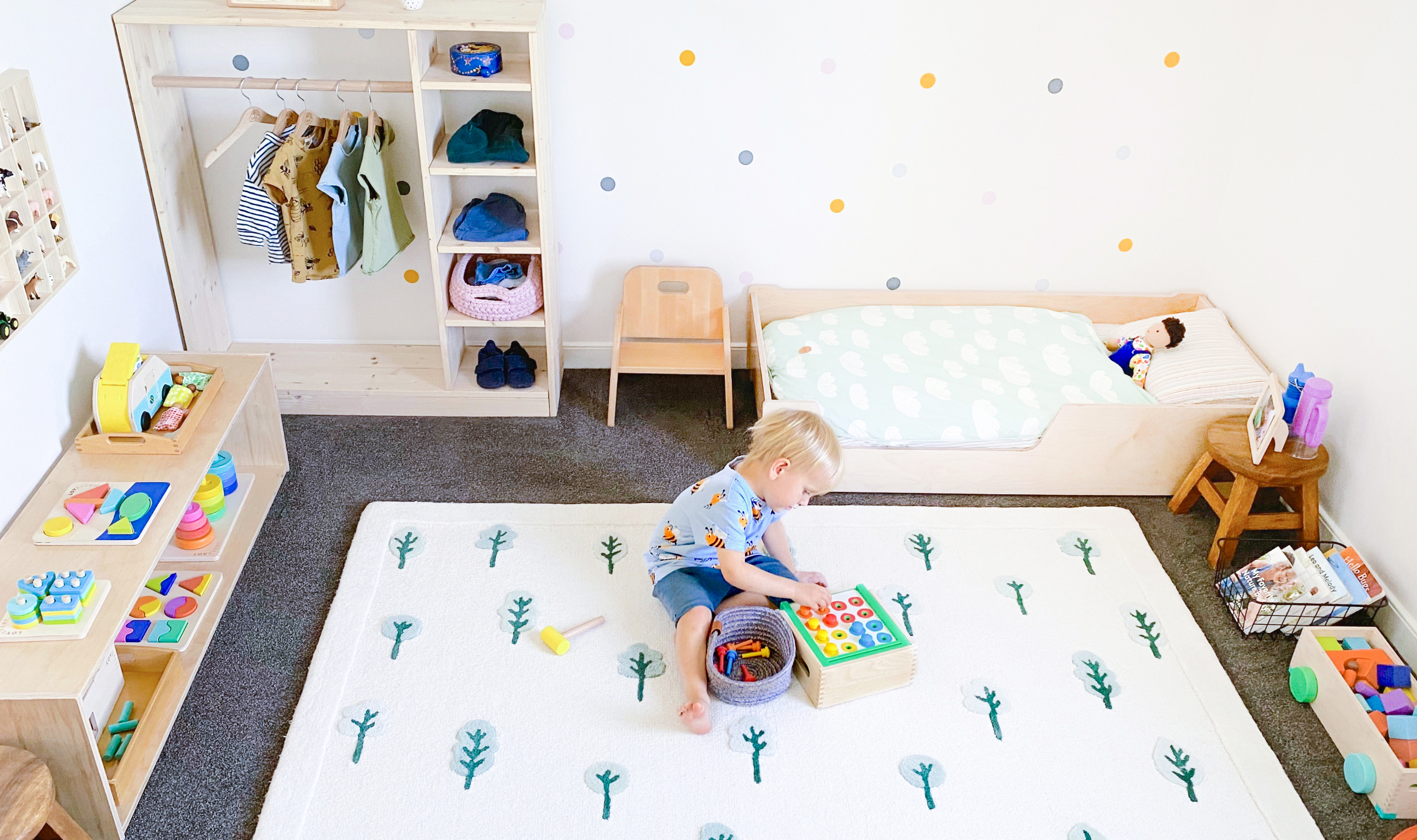 Young child in their Montessori inspired bedroom